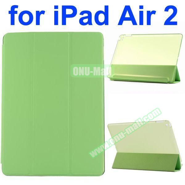 Smooth Texture 3 Folding Ultrathin iPad Air 2 Flip Leather Case with Back Crystal Cover (Green)