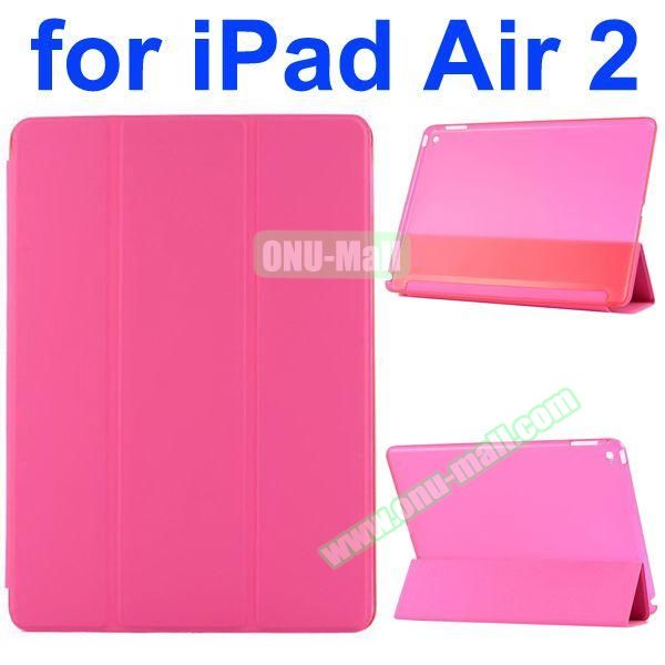 Smooth Texture 3 Folding Ultrathin iPad Air 2 Flip Leather Case with Back Crystal Cover (Pink)