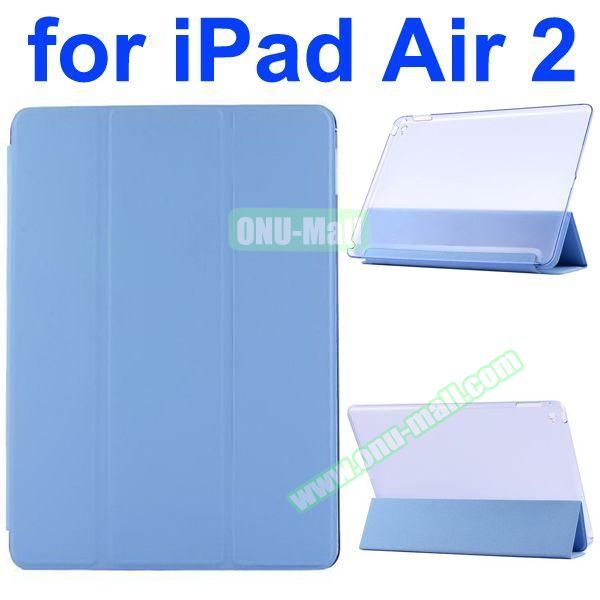 Smooth Texture 3 Folding Ultrathin iPad Air 2 Flip Leather Case with Back Crystal Cover (Light Blue)
