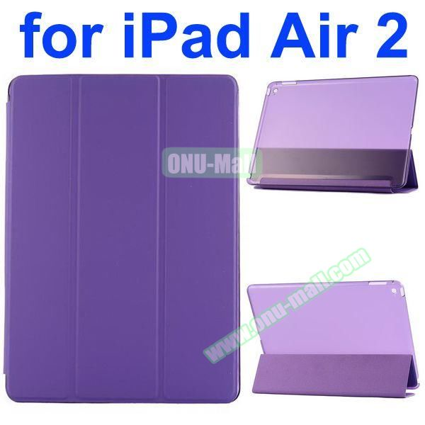 Smooth Texture 3 Folding Ultrathin iPad Air 2 Flip Leather Case with Back Crystal Cover (Purple)
