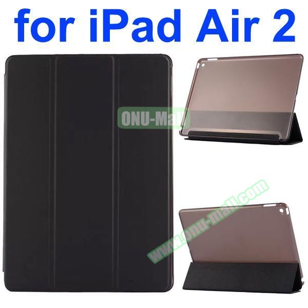 Smooth Texture 3 Folding Ultrathin iPad Air 2 Flip Leather Case with Back Crystal Cover (Black)
