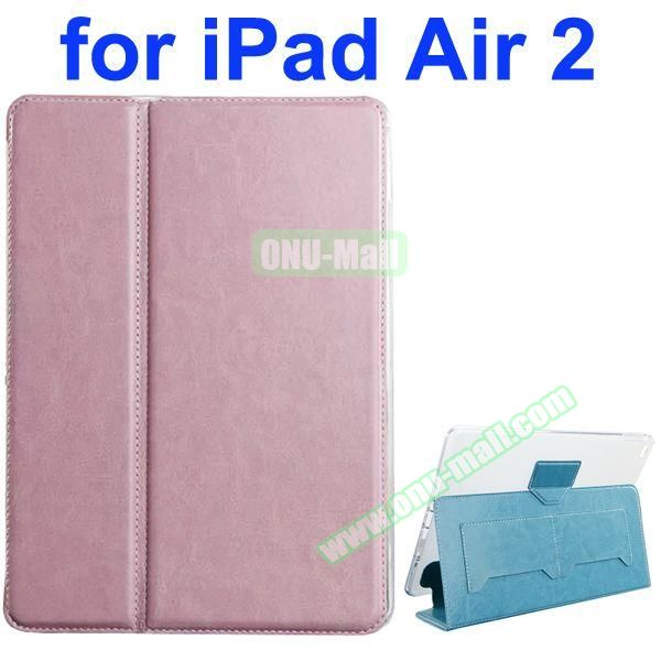 Crazy Horse Texture 2 Folding Flip Leather Case for iPad Air 2 with Transparent TPU Back Cover (Pink)