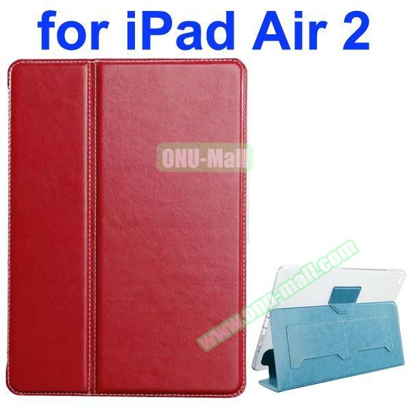Crazy Horse Texture 2 Folding Flip Leather Case for iPad Air 2 with Transparent TPU Back Cover (Red)