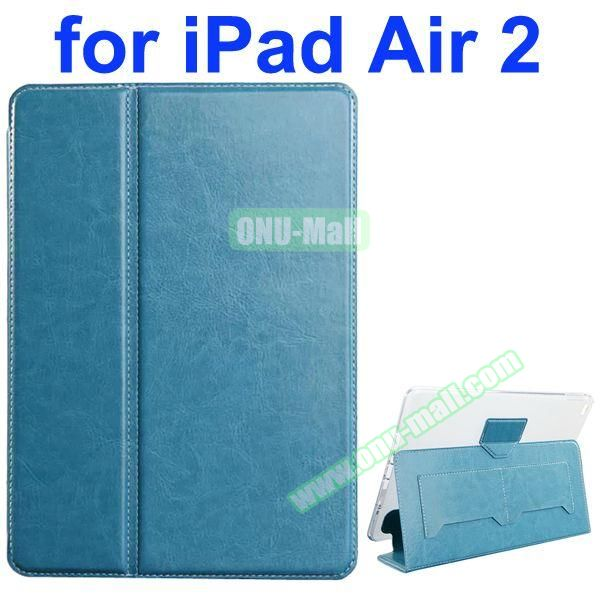 Crazy Horse Texture 2 Folding Flip Leather Case for iPad Air 2 with Transparent TPU Back Cover (Light Blue)