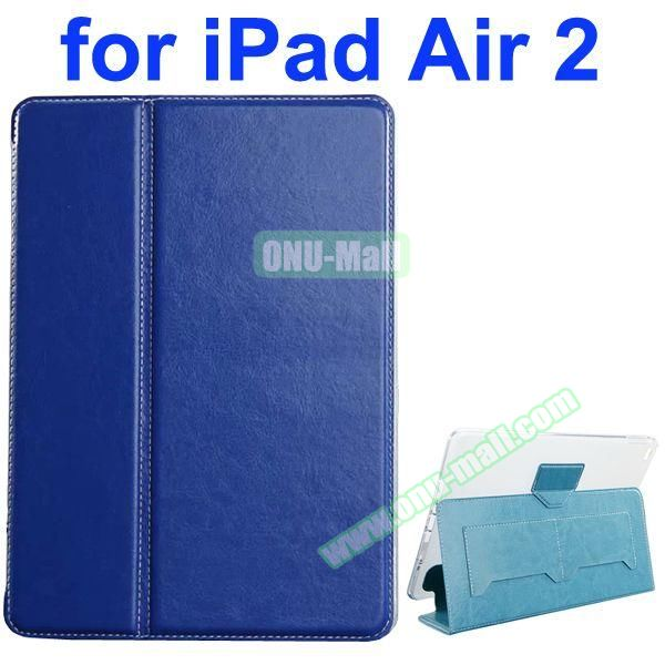 Crazy Horse Texture 2 Folding Flip Leather Case for iPad Air 2 with Transparent TPU Back Cover (Blue)