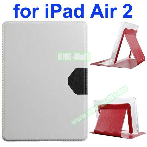 Official Style Heat Dissipation Flip Leather Case for iPad Air 2 with Stand (White)