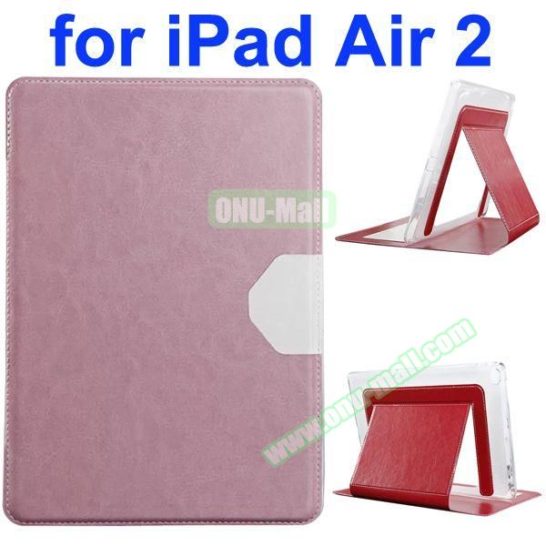 Official Style Heat Dissipation Flip Leather Case for iPad Air 2 with Stand (Pink)