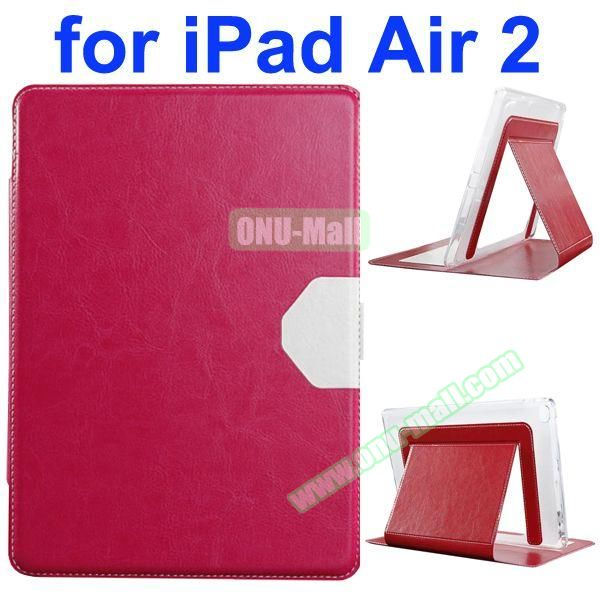 Official Style Heat Dissipation Flip Leather Case for iPad Air 2 with Stand (Rose)