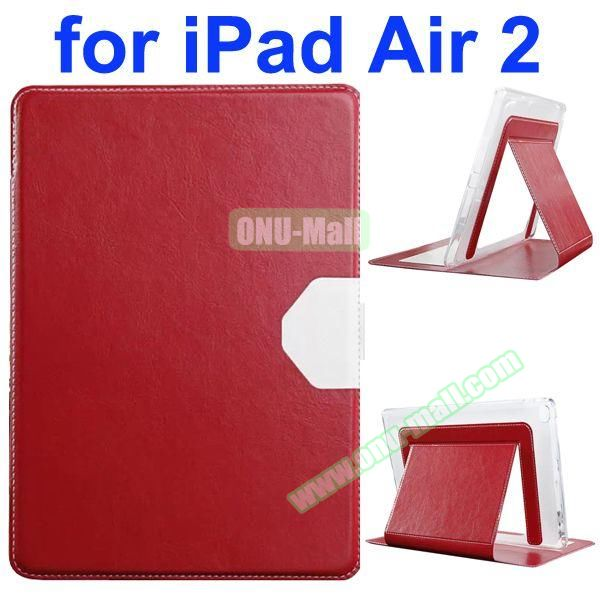 Official Style Heat Dissipation Flip Leather Case for iPad Air 2 with Stand (Red)