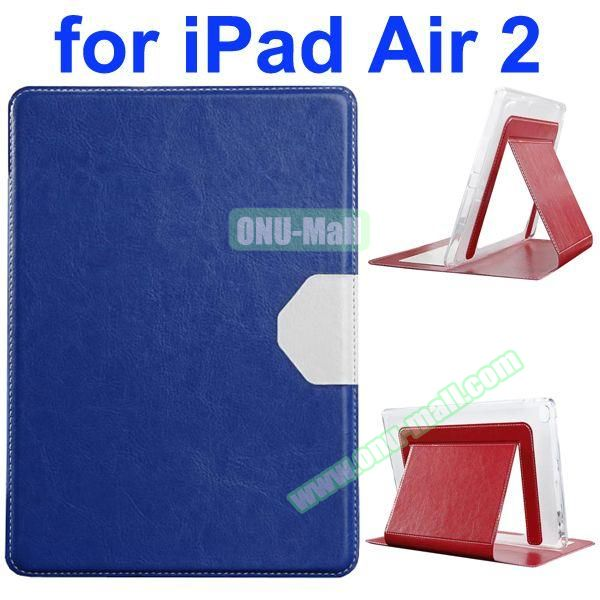 Official Style Heat Dissipation Flip Leather Case for iPad Air 2 with Stand (Blue)
