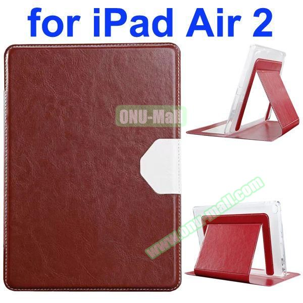 Official Style Heat Dissipation Flip Leather Case for iPad Air 2 with Stand (Brown)