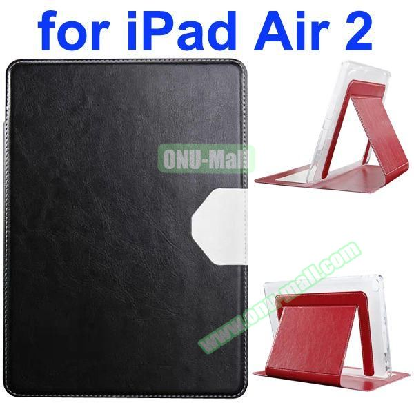 Official Style Heat Dissipation Flip Leather Case for iPad Air 2 with Stand (Black)