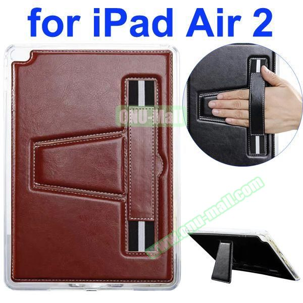 Official Style Leather Case for iPad Air 2 with Filco and Holder (Brown)