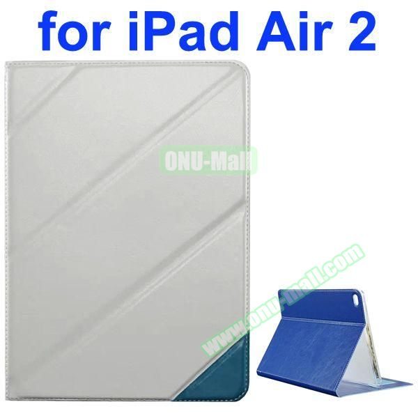 Official Style Colored Design Cow Leather Case for iPad Air 2 with Holder (White)