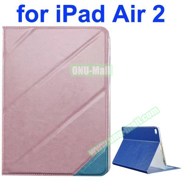 Official Style Colored Design Cow Leather Case for iPad Air 2 with Holder (Pink)