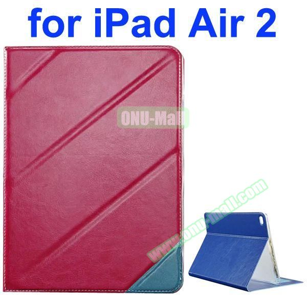 Official Style Colored Design Cow Leather Case for iPad Air 2 with Holder (Rose)