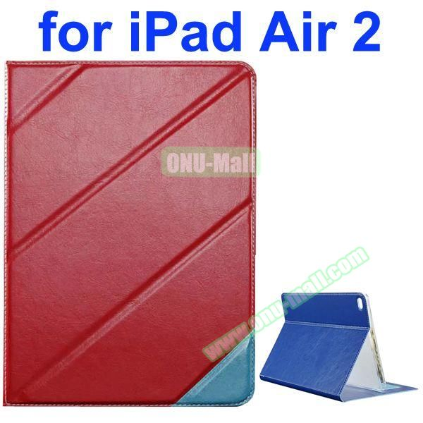 Official Style Colored Design Cow Leather Case for iPad Air 2 with Holder (Red)