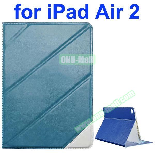 Official Style Colored Design Cow Leather Case for iPad Air 2 with Holder (Light Blue)