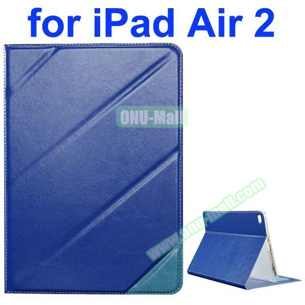 Official Style Colored Design Cow Leather Case for iPad Air 2 with Holder (Dark Blue)