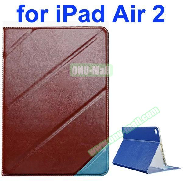Official Style Colored Design Cow Leather Case for iPad Air 2 with Holder (Brown)