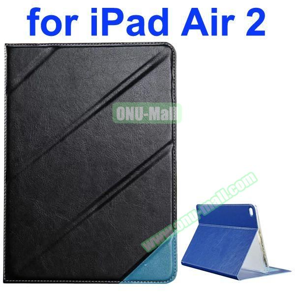 Official Style Colored Design Cow Leather Case for iPad Air 2 with Holder (Black)