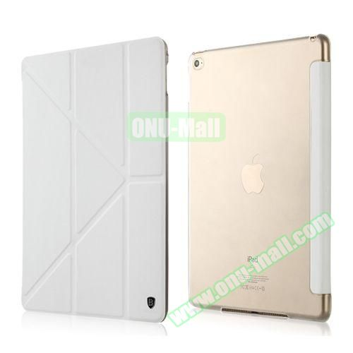 Baseus Pasen Series Smart Cover Frosted Leather Case for iPad Air 2 with Holder (White)