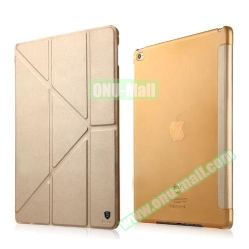 Baseus Pasen Series Smart Cover Frosted Leather Case for iPad Air 2 with Holder (Gold)