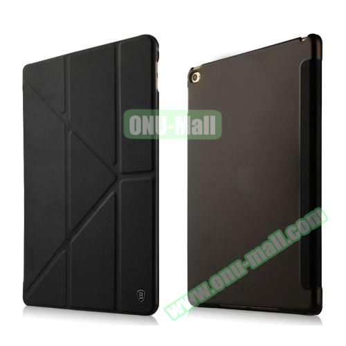 Baseus Pasen Series Smart Cover Frosted Leather Case for iPad Air 2 with Holder (Black)
