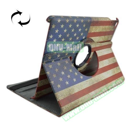 US Flag Pattern 360 Degree Rotation Leather Case  for iPad Air 2 with 2 Gears Holder