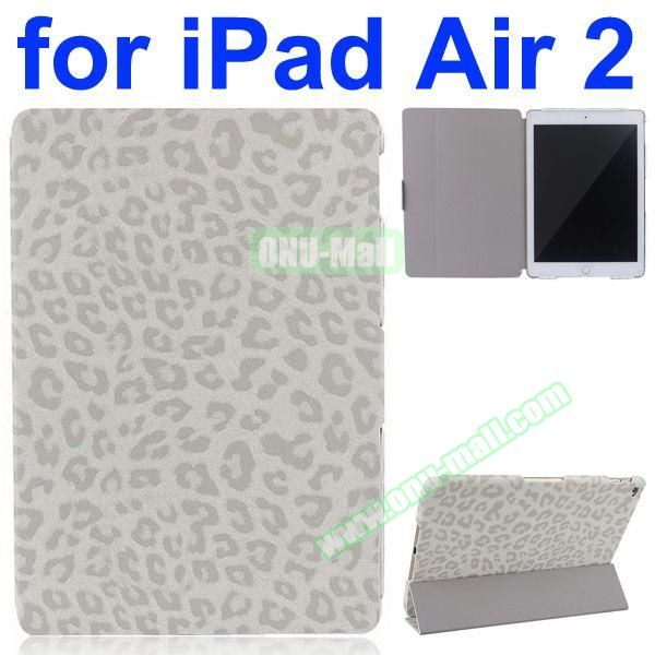 Leopard Pattern 3-Folding PU Leather Case for iPad Air 2 (White)