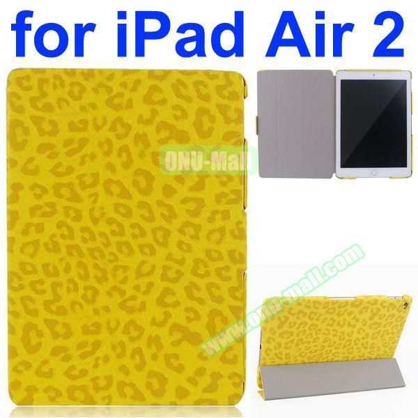 Leopard Pattern 3-Folding PU Leather Case for iPad Air 2 (Yellow)