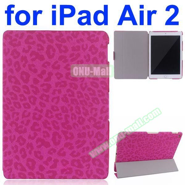 Leopard Pattern 3-Folding PU Leather Case for iPad Air 2 (Rose)