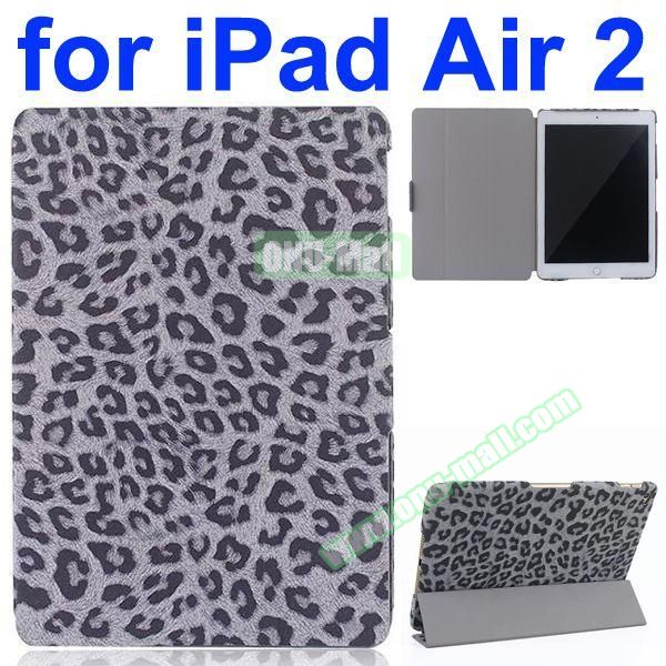 Leopard Pattern 3-Folding PU Leather Case for iPad Air 2 (Grey)