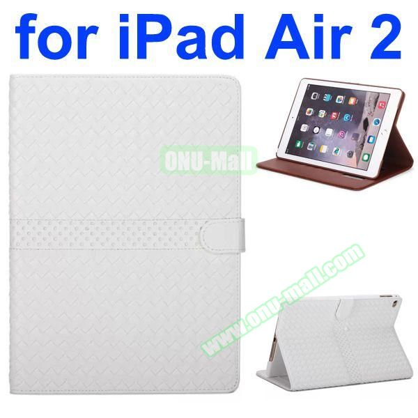 Weave Patterns Stand  Flip PU Leather Case for iPad Air 2 (White)