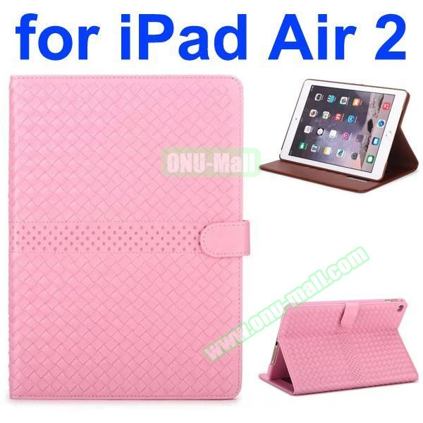 Weave Patterns Stand  Flip PU Leather Case for iPad Air 2 (Pink)