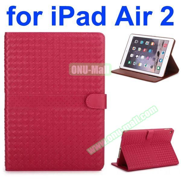 Weave Patterns Stand  Flip PU Leather Case for iPad Air 2 (Red)