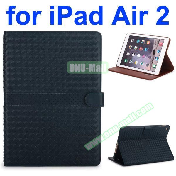 Weave Patterns Stand  Flip PU Leather Case for iPad Air 2 (Black)