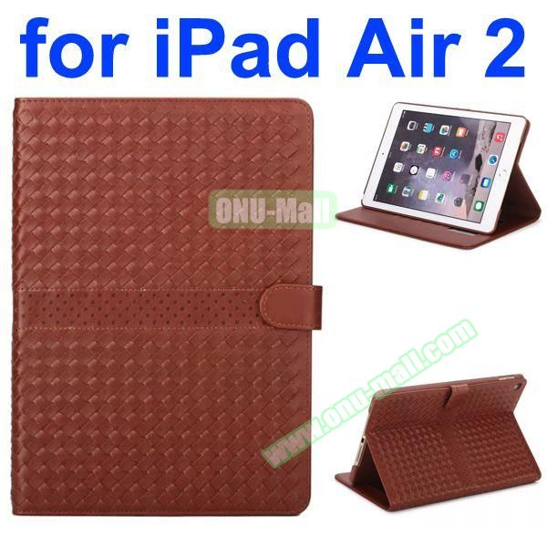 Weave Patterns Stand  Flip PU Leather Case for iPad Air 2 (Brown)