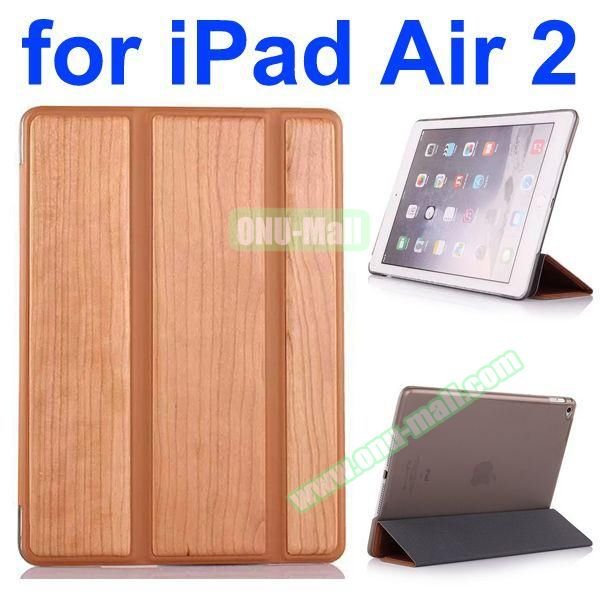 3 Folding Pattern Wood Texture Flip Leather Case for iPad Air 2 with Stand (Coffee)