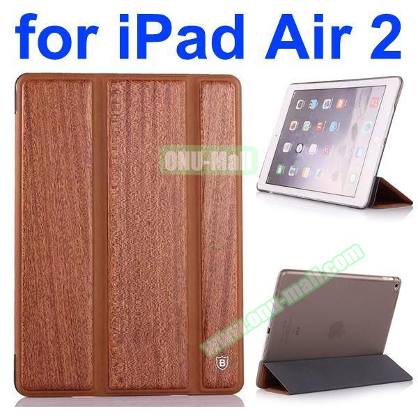 3 Folding Pattern Wood Texture Flip Leather Case for iPad Air 2 with Stand (Brown)