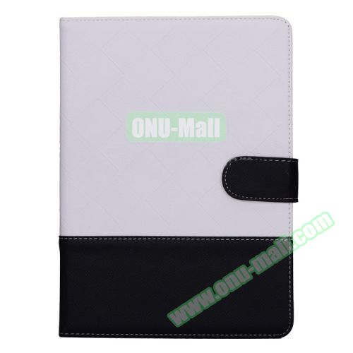 Contrast Color Pattern Flip Leather Case for iPad Air 2 with Sleep Function (White and Black)