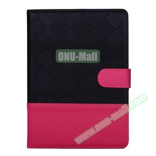 Contrast Color Pattern Flip Leather Case for iPad Air 2 with Sleep Function (Black and Pink)