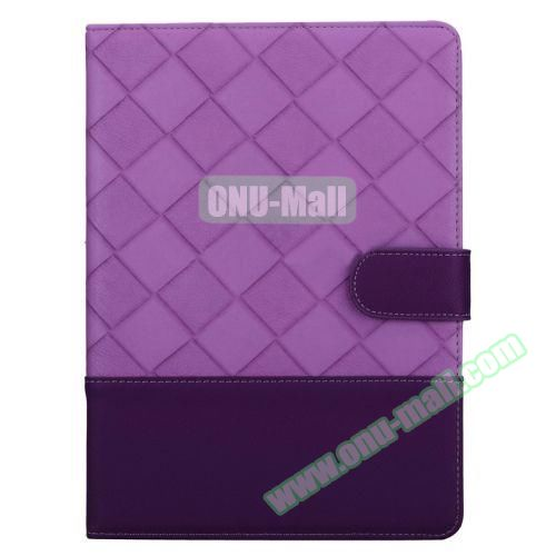 Contrast Color Pattern Flip Leather Case for iPad Air 2 with Sleep Function (Purple)