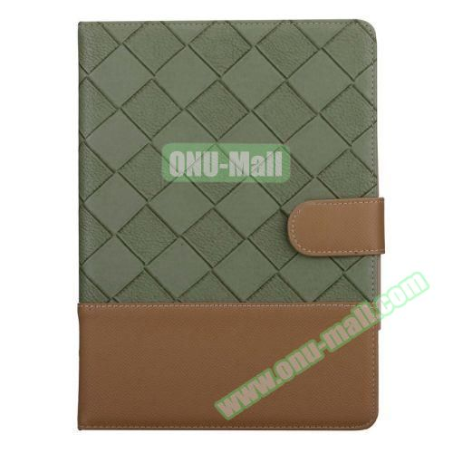 Contrast Color Pattern Flip Leather Case for iPad Air 2 with Sleep Function (Green and Brown)