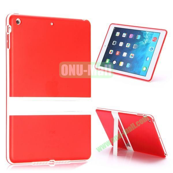 Dual Color Soft TPU + PC Case for iPad Air with a Kickstand (Red+White)