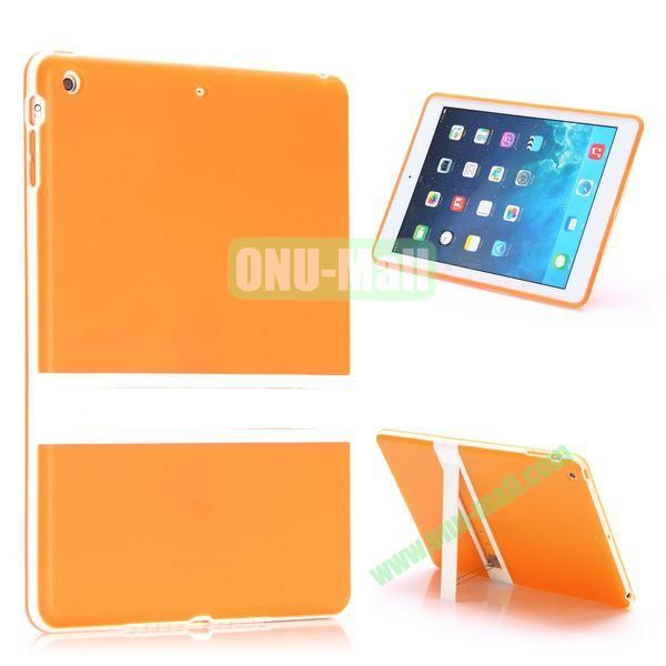Dual Color Soft TPU + PC Case for iPad Air with a Kickstand (Orange+White)
