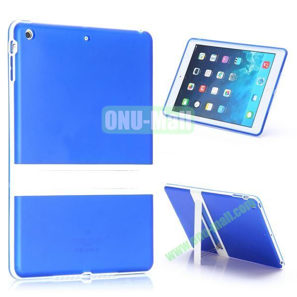 Dual Color Soft TPU + PC Case for iPad Air with a Kickstand (Blue+White)