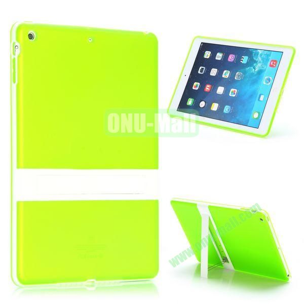 Dual Color Soft TPU + PC Case for iPad Air with a Kickstand (Green+White)