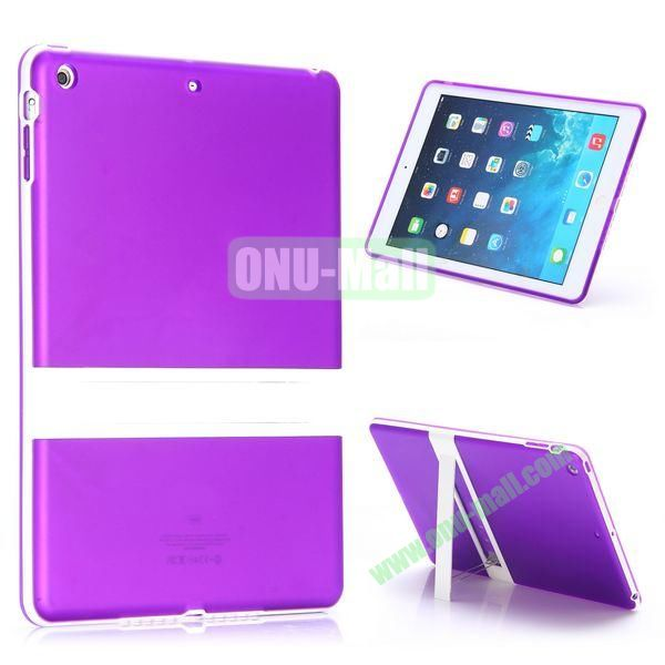 Dual Color Soft TPU + PC Case for iPad Air with a Kickstand (Purple+White)