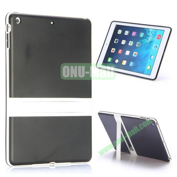 Dual Color Soft TPU + PC Case for iPad Air with a Kickstand (Black+White)